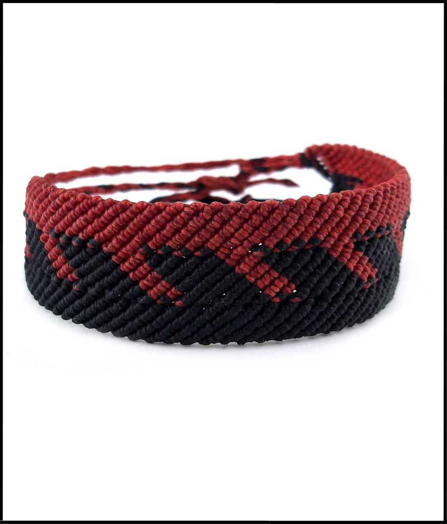 Red & Black Macramé Cuff Bracelet