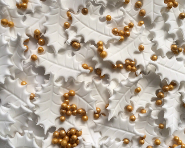 Silver White & Gold Holly Decoration (Limited Edition!)