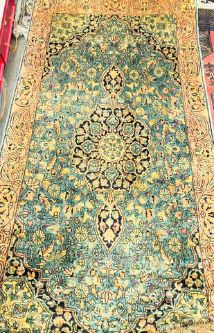 3x5 Pakistani Carpet Rug 100% Pure Silk Turquoise Sea Green Teal Kashmir Pakistan Floral