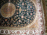 4x6 Pakistani Carpet Rug 100% Pure Silk Emerald Green Kashmir Pakistan Floral