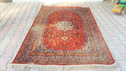 5x7 Pakistani Carpet Rug 100% Pure Silk Red Maroon Crimson Kashmir Pakistan Floral