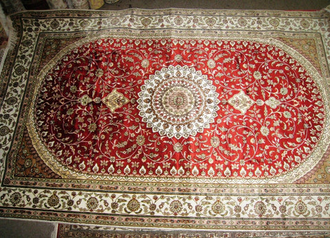 Persian Rug 5x8 Turkmen Carpet Tribal 100 Silk Medallion