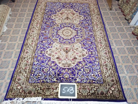 5x8 Pakistan Carpet Rug Persian Silk Wool Blend Hand Knotted Purple Beige Tan