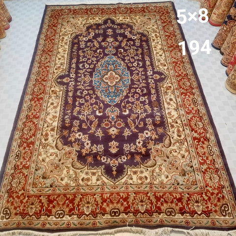 5x8 Pakistan Carpet Rug Persian Silk Wool Blend Hand Knotted Purple Pink Violet