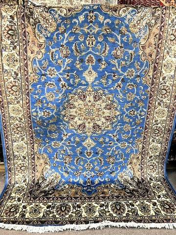 6x9 Pakistan Carpet Rug Persian Silk Wool Blend Hand Knotted Turquoise Blue Cyan Aqua New