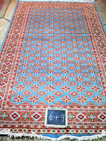 Pakistani Carpet Rug Silk Wool Blend Turquoise Light Blue Green Persian Aqua 6x9