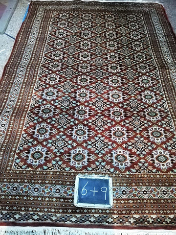 6x9 Pakistan Carpet Rug Persian Silk Wool Blend Hand Knotted Dark Brown New