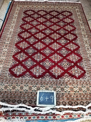 6x9 Pakistan Carpet Rug Persian Silk Wool Blend Hand Knotted Red Maroon Crimson New