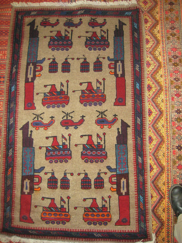 AFGHAN WAR RUG tribal ak47 kalashnikov gun tank rpg 3x5 large battle carpet antique