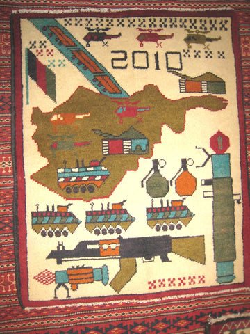 AFGHAN WAR RUG tribal ak47 kalashnikov gun tank rpg 2x2.5 battle carpet antique