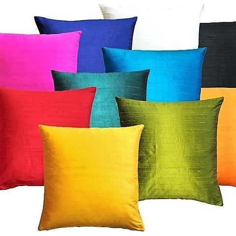 Silk Pillow Cover Pure Dupion Cushion Case Solid Plain Indian Square Sofa Bed