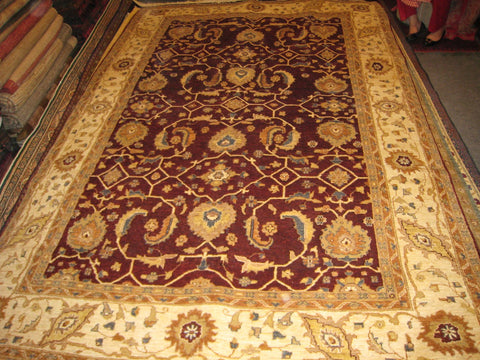 Chobi Carpet Afghan Chobee Design 7x10 Hand Knotted 350 kpsi Red Maroon Rug