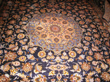 Iranian Kashan Carpet 13x10 Persian Rug Large Size Blue