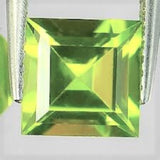Peridot Square Cut Gem Lime Green Pakistan Natural Stones