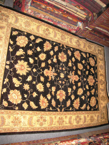 PERSIAN RUG Oriental Carpet chobee chobi afghan 5x8 hand knotted 400 kpsi 100% wool black new stunning