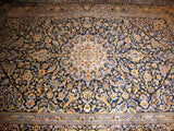 PERSIAN CARPET ORIENTAL rug genuine kashan iran iranian 8x11 400 kpsi 100% wool traditional beautiful huge bed living room large navy blue