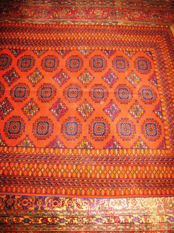 PERSIAN RUG ORIENTAL carpet genuine sarouk afghan afghanistan 4x6 hand knotted 100% wool traditional tribal kuba medium size orange kilim