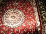 Silk Rug, 2x3 Size, Pakistani Sindhi Design, Red, White, Floral Pattern