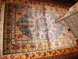 PERSIAN CARPET BEAUTIFUL iran iranian rug persia qom 4x6 hand knotted 100% silk masterpiece koom new blue double sided bedroom 800 kpsi fine