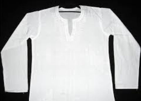 Kurta Shirt, Traditional Indian Bengali Ethnic Clothing, White, New, 100% Cotton, Colors, Lawn Kurta