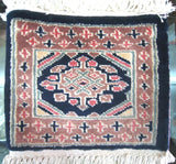 PERSIAN CARPET small rug oriental floral baluchi indian 1x1 mouse pad miniature 100% wool pakistani red blue black pink colorful design new