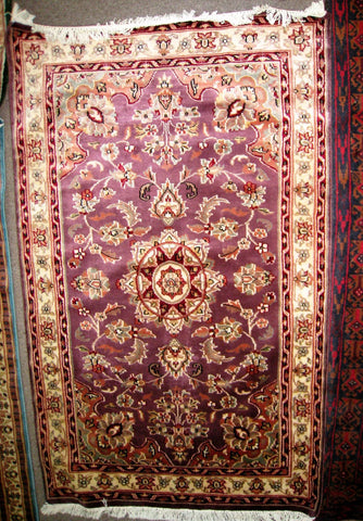 PERSIAN CARPET ORIENTAL rug genuine tharparkar sindhi pakistani indian design 3x5 hand knotted wool silk blend bedroom purple plum violet