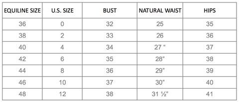 Equiline US Apparel Size Guide – EQUILINE America