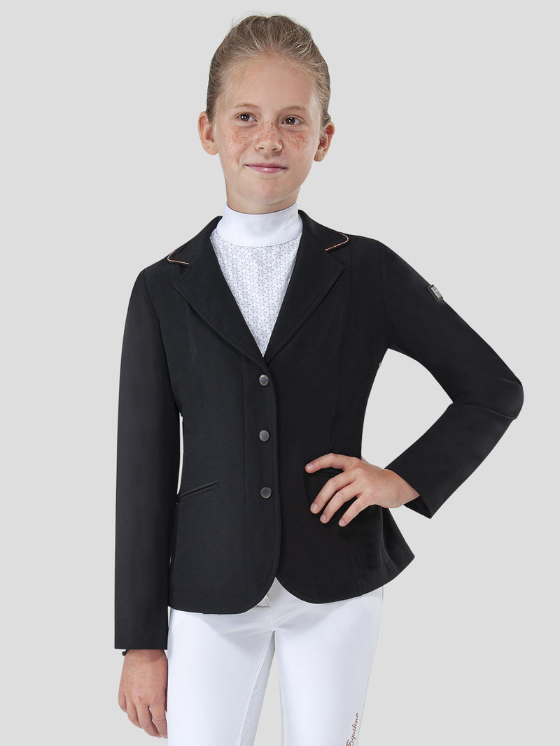 URSULA - GIRL'S SHOW COAT WITH ROSE GOLD PIPING
