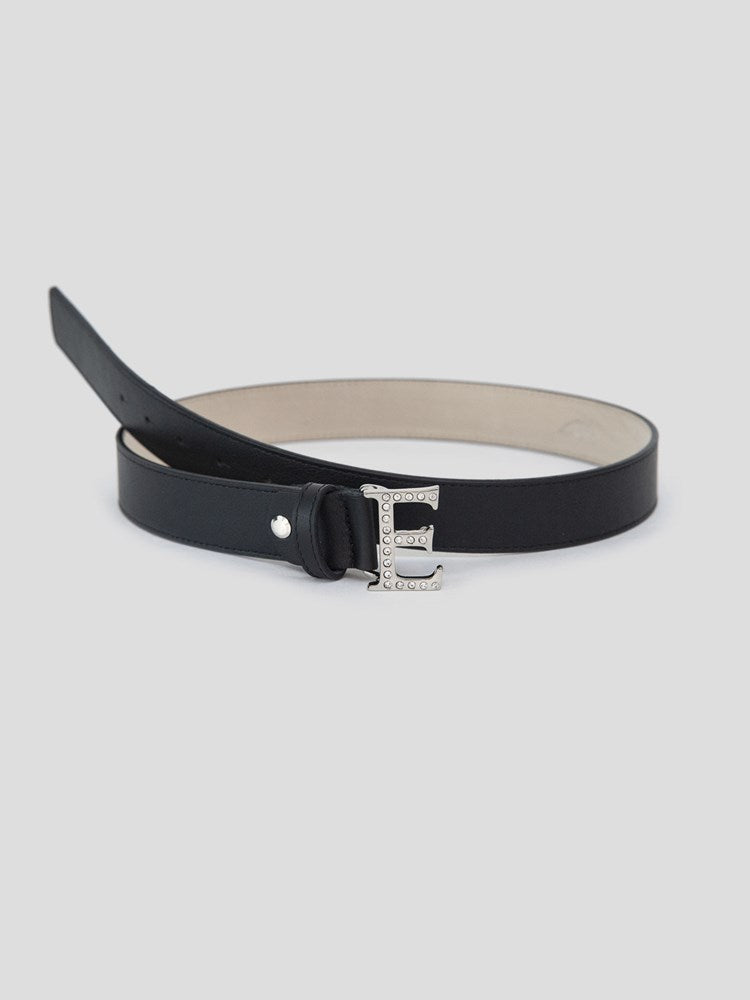 DOVE - WOMEN'S LEATHER BELT WITH CRYSTAL 'E'