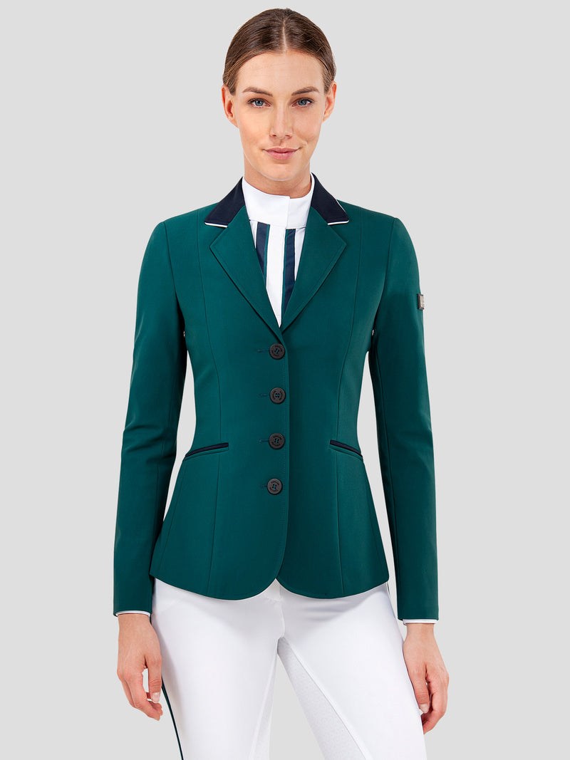 CALANTHA GREEN WOMEN'S SHOW COAT IN B-COOL FABRIC