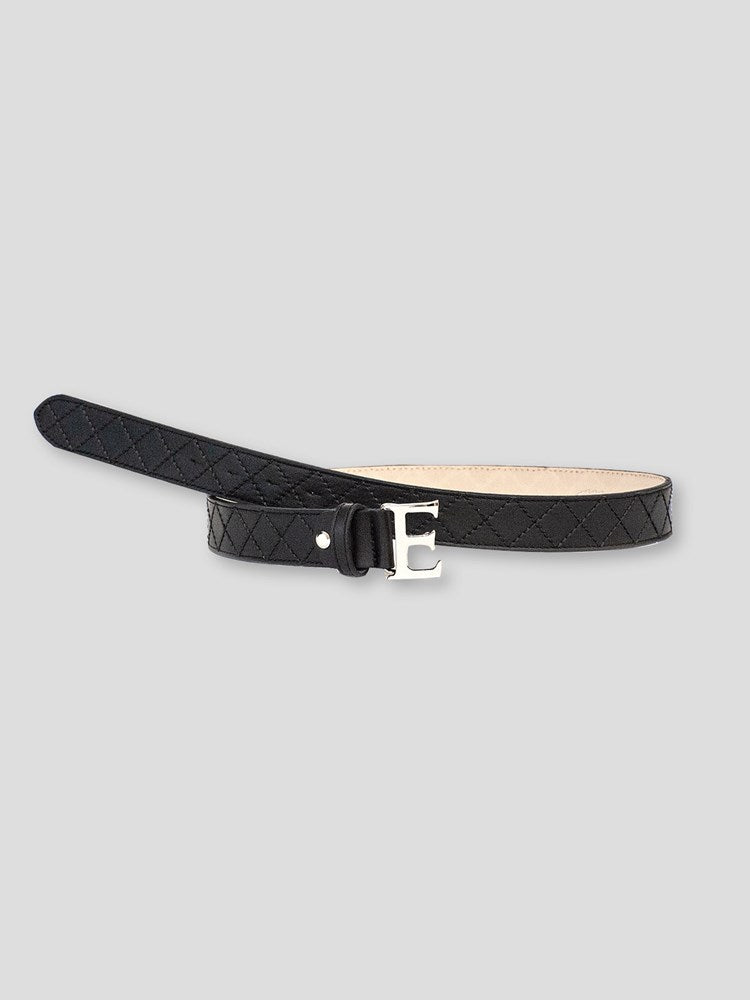 "Souvage - Leather ""Quilted"" Belt with ""E"" Buckle"