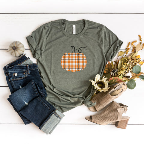 Orange Plaid Pumpkin | Short Sleeve Graphic Tee