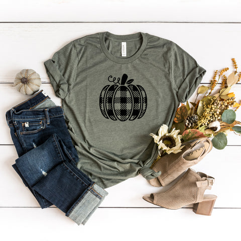 Buffalo Plaid Pumpkin | Short Sleeve Graphic Tee