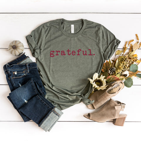 Grateful Colorful Typewriter | Short Sleeve Graphic Tee