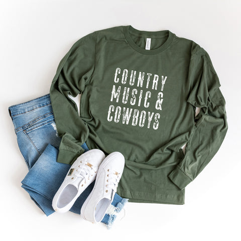 Country Music and Cowboys | Long Sleeve Graphic Tee