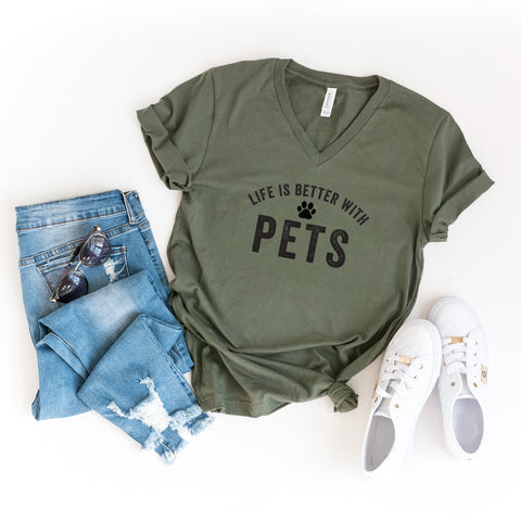 Life is Better With Pets | V-Neck Graphic Tee