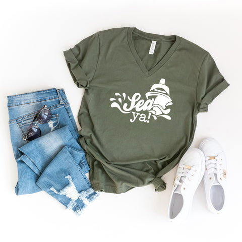 Sea Ya | V-Neck Graphic Tee