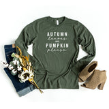 Autumn Leaves and Pumpkin Please | Long Sleeve Graphic Tee