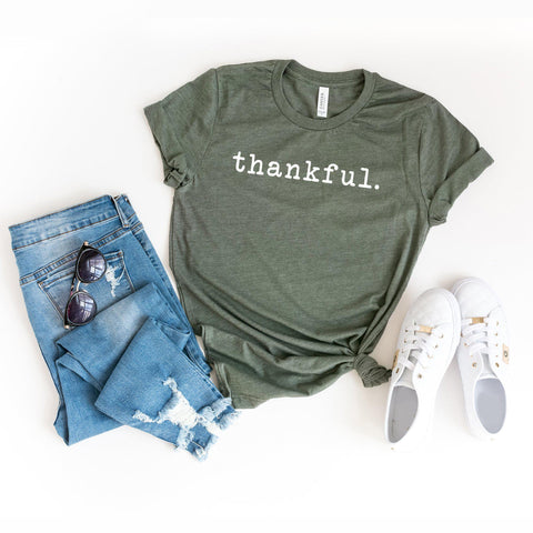 Thankful - Typewriter | Short Sleeve Graphic Tee