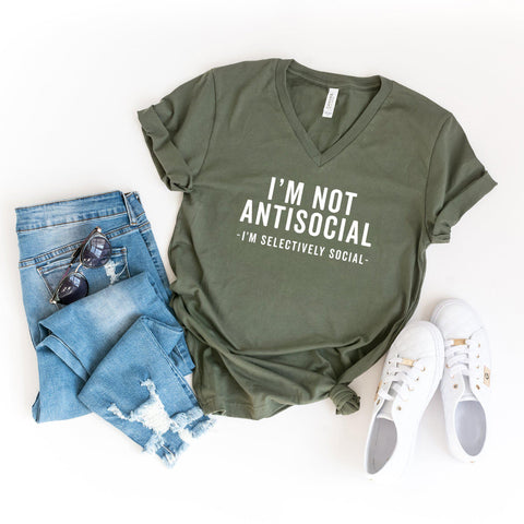 I'm not Antisocial. I'm Selectively Social | V-Neck Graphic Tee
