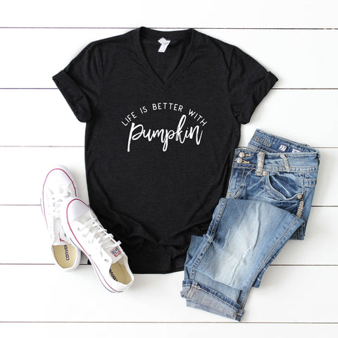 Life is Better with Pumpkin | V-Neck Graphic Tee