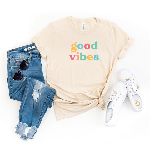 Good Vibes - Colorful Words | Short Sleeve Graphic Tee