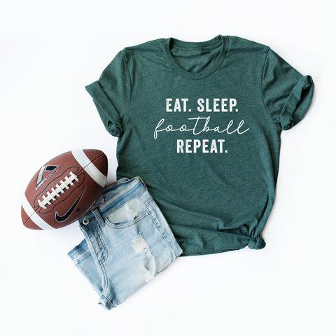 Eat Sleep Football Repeat | Short Sleeve Graphic Tee
