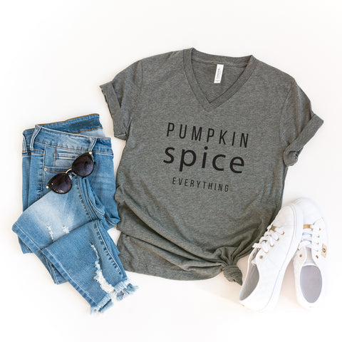 Pumpkin Spice Everything | V-Neck Graphic Tee