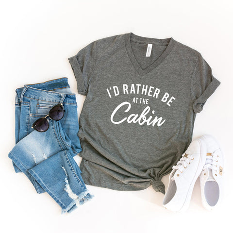 I'd Rather be at the Cabin | V-Neck Graphic Tee