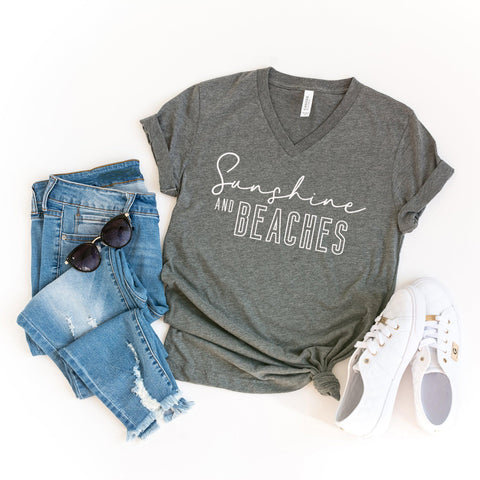 Sunshine and Beaches | V-Neck Graphic Tee