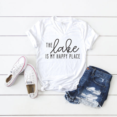 The Lake is my Happy Place | V-Neck Graphic Tee