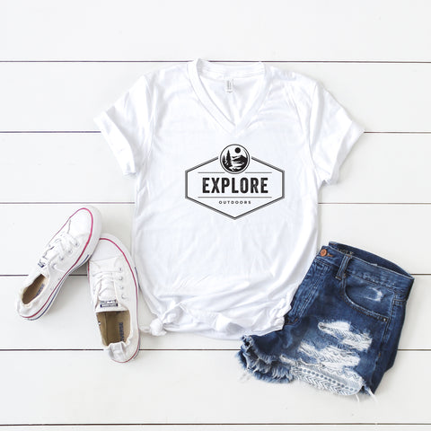 Explore | V-Neck Graphic Tee
