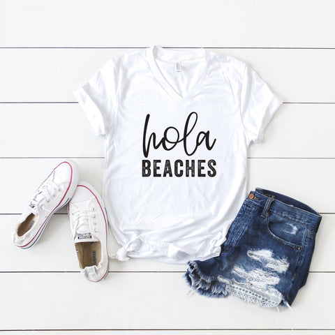 Hola Beaches | V-Neck Graphic Tee