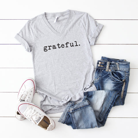 Grateful - Typewriter | V-Neck Graphic Tee